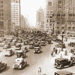 PHOTO - CHICAGO - MICHIGAN AVE - RUSH HOUR - LOOKING N FROM NEAR WRIGLEY - c1930