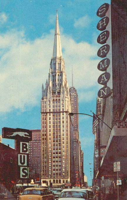 postcard-chicago-temple-building-seen-from-near-sherman-house-hotel-1960s
