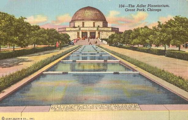 postcard-chicago-adler-planetarium-esplanade-featured-esplanade-built-in-1933-for-century-of-progress-1940s