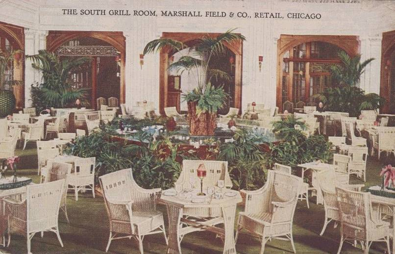 POSTCARD - CHICAGO - MARSHALL FIELD - SOUTH GRILL ROOM - 1917